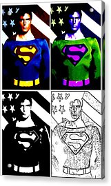 Christopher Reeve - Our Man Of Steel 1952 To 2004 Acrylic Print by Saad Hasnain