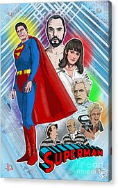 Christopher Reeve's Superman Acrylic Print by Joseph Burke