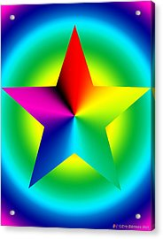 Chromatic Star With Ring Gradient Acrylic Print