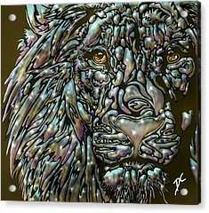 Acrylic Print featuring the digital art Chrome Lion by Darren Cannell
