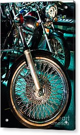 Chrome Rim And Front Fork Of Vintage Style Motorcycle Acrylic Print
