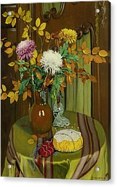 Chrysanthemum And Autumn Foliage Acrylic Print
