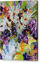 Chrysanthemums And Lilacs Still Life Acrylic Print