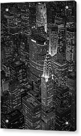 Chrysler Building Aerial View Bw Acrylic Print by Susan Candelario