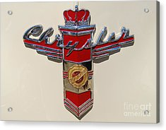 Chrysler Hood Logo Acrylic Print by Larry Keahey