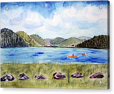 Acrylic Print featuring the painting Chrystal Lake  Barton Vt  by Donna Walsh