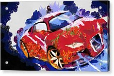 Chubby Car Red Acrylic Print by Catherine Lott