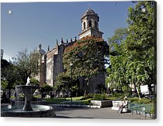 Church And Fountain Guadalajara Acrylic Print by Jim Walls PhotoArtist
