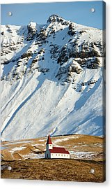 Acrylic Print featuring the photograph Church And Mountains In Winter Vik Iceland by Matthias Hauser