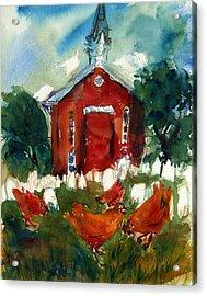 Church Hens Acrylic Print by Diana Ludwig