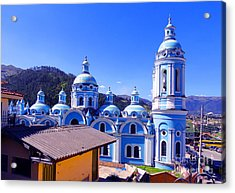 Church In Banos Ecuador Acrylic Print by Al Bourassa