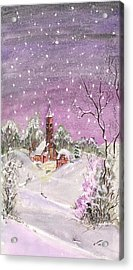 Acrylic Print featuring the digital art Church In The Snow by Darren Cannell