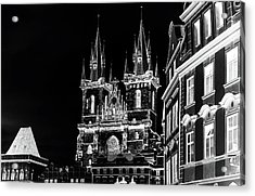 Acrylic Print featuring the photograph Church Of Our Lady Before Tyn. Night Prague by Jenny Rainbow