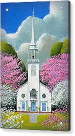 Church Of The Dogwoods Acrylic Print by John Deecken