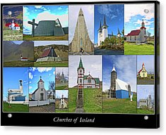 Churches Of Iceland Collage Acrylic Print by Allen Beatty