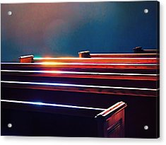 Churchlight -- Pews Under Stained Glass Acrylic Print