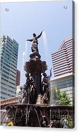Cincinnati Fountain Tyler Davidson Genius Of Water Acrylic Print by Paul Velgos