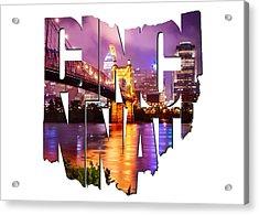 Cincinnati Ohio Typography - The Vibrant Cincinnati Ohio Skyline And John Roebling Suspension Bridge Acrylic Print by Gregory Ballos