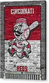 Cincinnati Reds Brick Wall Acrylic Print by Joe Hamilton