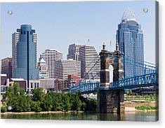 Cincinnati Skyline And John Roebling Bridge Acrylic Print