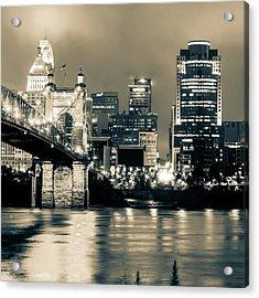 Cincinnati Skyline And Ohio River Sepia 1x1 Acrylic Print by Gregory Ballos