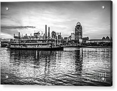 Cincinnati Skyline And Riverboat In Black And White Acrylic Print