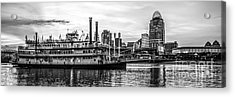 Cincinnati Skyline Panorama In Black And White Acrylic Print