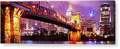Cincinnati Skyline Panorama - Ohio - Usa Acrylic Print by Gregory Ballos