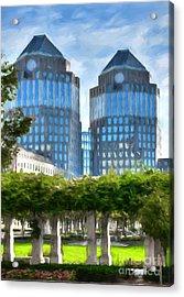 Cincinnati's Twin Towers Acrylic Print by Mel Steinhauer