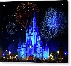 Cinderella Castle Fireworks Acrylic Print by Mark Andrew Thomas