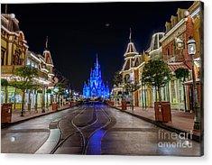 Cinderella Castle Glow Over Main Street Usa Acrylic Print