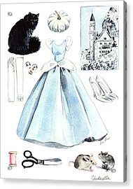 Cinderella Disney Princess Collage Castle Glass Slippers Mouse Pumpkin Cat Acrylic Print