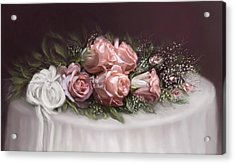 Acrylic Print featuring the painting Spray Of  Roses by Bonnie Willis