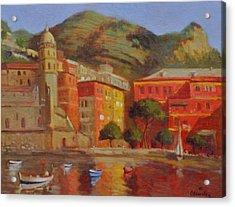 Cinqua Terra Italian Fishing Village Acrylic Print by David Olander