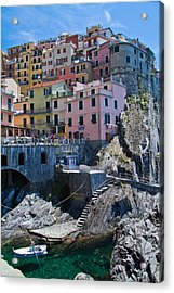 Cinque Terre Harbor And Town Acrylic Print by Roger Mullenhour