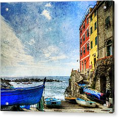 Cinque Terre - Little Port Of Riomaggiore - Vintage Version Acrylic Print
