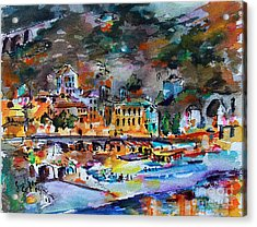 Acrylic Print featuring the painting Cinque Terre Monterosso At Night by Ginette Callaway