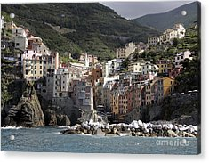 Cinqueterre From The Sea Acrylic Print by Stan and Anne Foster