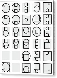 Circle And Square Alphabet - 24 Acrylic Print