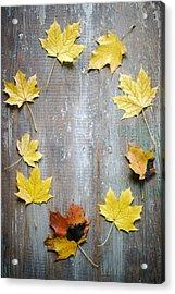 Circle Of Autumn Leaves On Weathered Wood Acrylic Print