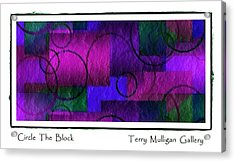 Circle The Block In Purple And Blue Acrylic Print by Terry Mulligan