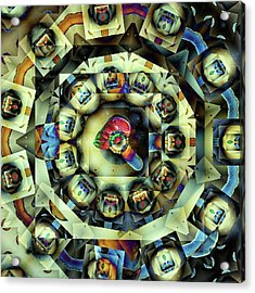 Acrylic Print featuring the digital art Circled Squares by Ron Bissett