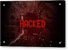 Circuit Board Hacked Text Acrylic Print