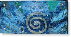 Circular Gold On Blue Acrylic Print by Anne-Elizabeth Whiteway