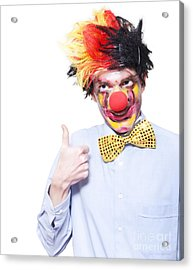 Circus Clown With Thumb Up To Carnival Advertising Acrylic Print