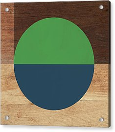Cirkel Blue And Green- Art By Linda Woods Acrylic Print by Linda Woods