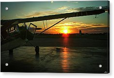 Citabria Peeking Out Of The Hangar Door Acrylic Print
