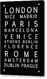 Cities Of Europe Acrylic Print by Georgia Fowler