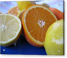 Citrus On Blue Plate Acrylic Print