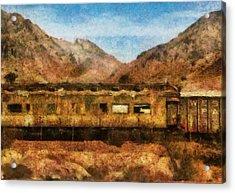 City - Arizona - Desert Train Acrylic Print by Mike Savad